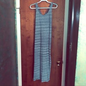 Loft grey stripped maxi dress Size M